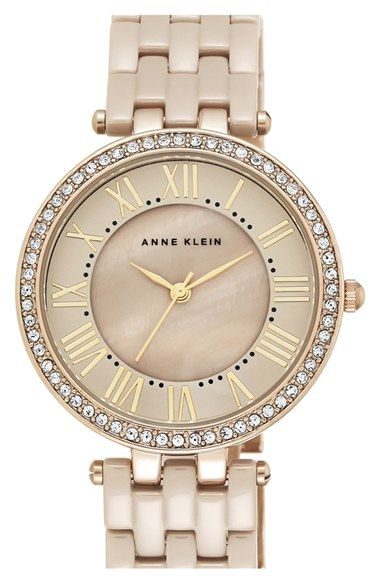 Anne Klein Crystal Bezel Ceramic Bracelet Watch, 34mm available at #Nordstrom