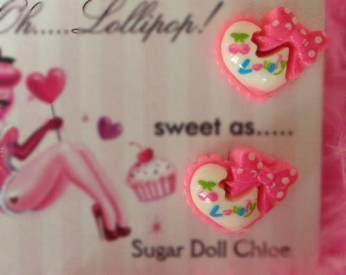 Oh Lollipop Sugar Doll Candy Hearts Barbie Pink Swirl Polka Dot Bow Earrings