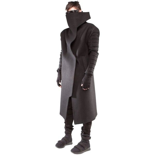 Demobaza Men Shift Boiled Wool Coat ($1,145) ❤ liked on Polyvore featuring men's fashion, men's clothing, men's outerwear, men's coats, black and mens coats