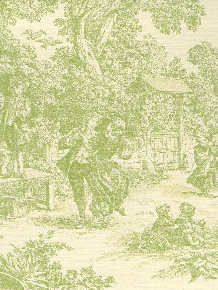 17 best images about french country toile transfer ware for Green wallpaper for walls
