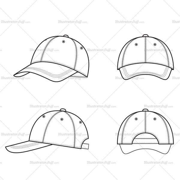 Baseball Caps Outline Cap Drawing Cap Designs T Shirt Design Template