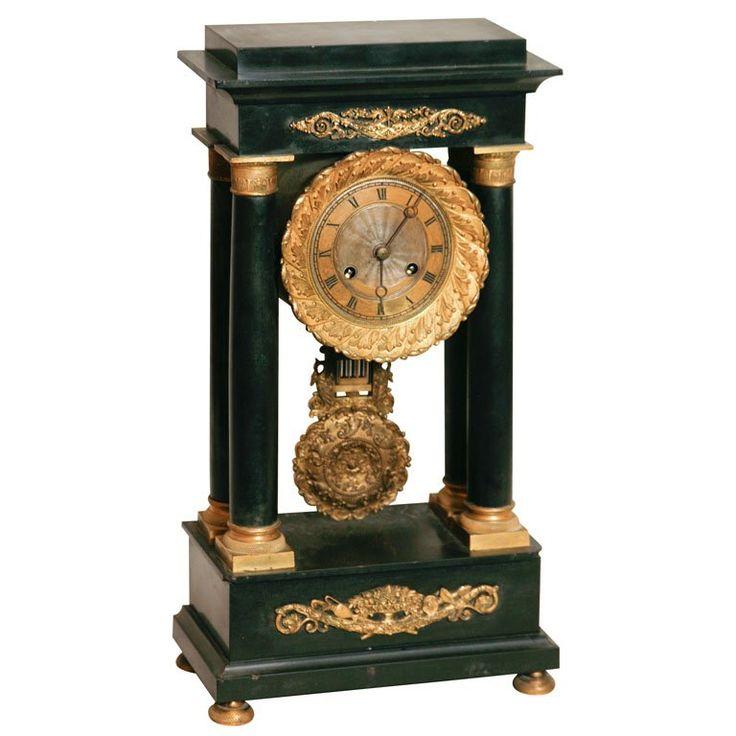 "A French Empire style Temple clock, in black slate ""Saturday Sale"" 1"