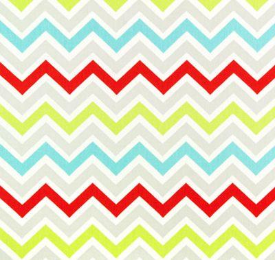 """Mini Chevron, Fresh""  56"" wide 100% 10 oz cotton canvas  A smaller scale, coordinate zig zag stripe in aqua blue, soft dove grey, lime sorbet green, candy apple red and white."