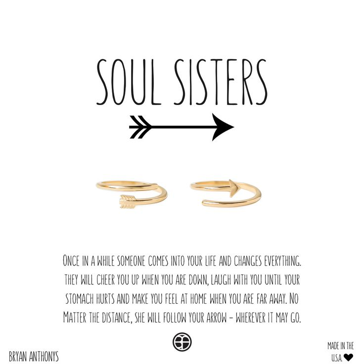 Bryan Anthonys Soul Sisters Best Friend & Sister Delicate Arrow Ring Halves. $38