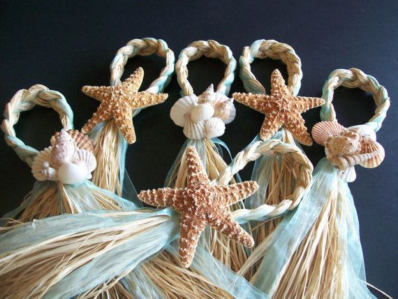 Beach Aisle Decorations, Beach Pew Bows, Starfish and Raffia Chair Hangers, Beach Wedding, Pick your Ribbon, Destination Wedding, Seashells