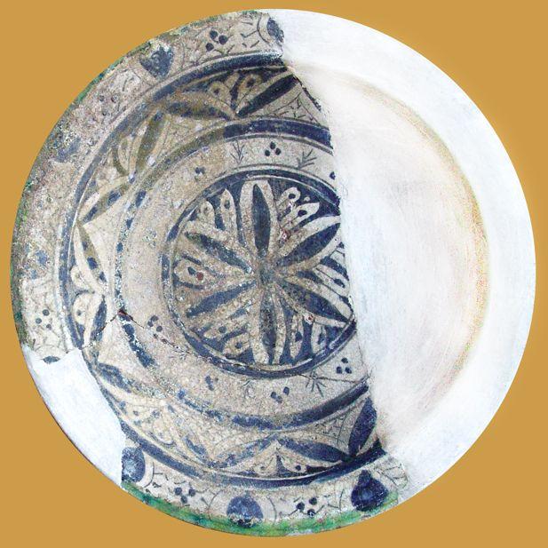 İznik Milet ware, plate, red clay, diameter:28,3 cm ,15th century, Bursa İslam Eserleri Müzesi