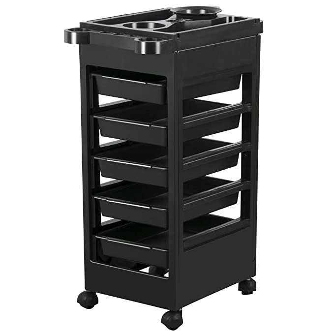 Amazon Com Yaheetech Salon Spa Beauty Hairdressing Rolling Trolley Cart With 5 Drawers Hair Dryer Service Tr In 2020 Salon Trolley Hairdressing Trolley Beauty Storage