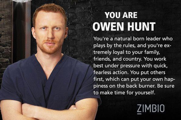 I took Zimbio's 'Grey's Anatomy' personality quiz and I'm Owen Hunt! Who are you? #ZimbioQuiz