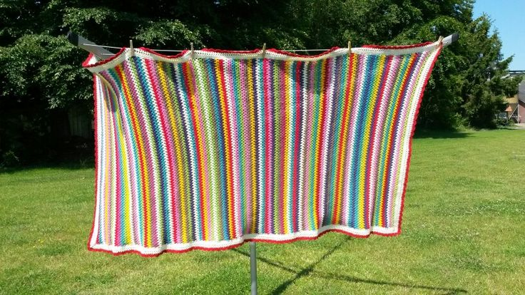 Striped crochet blanket 'Miriam', acryl, crochet hook size 4.