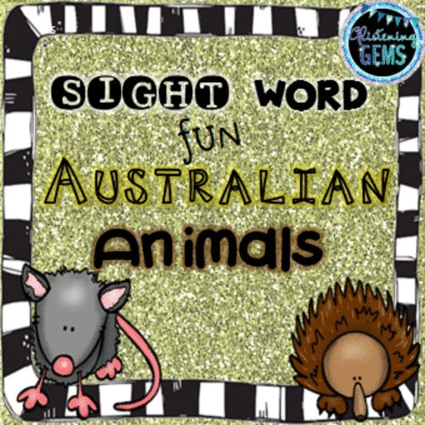 Australian Animal Themed - Cut and Paste sight Words Activities for kindergarten and 1st grade.