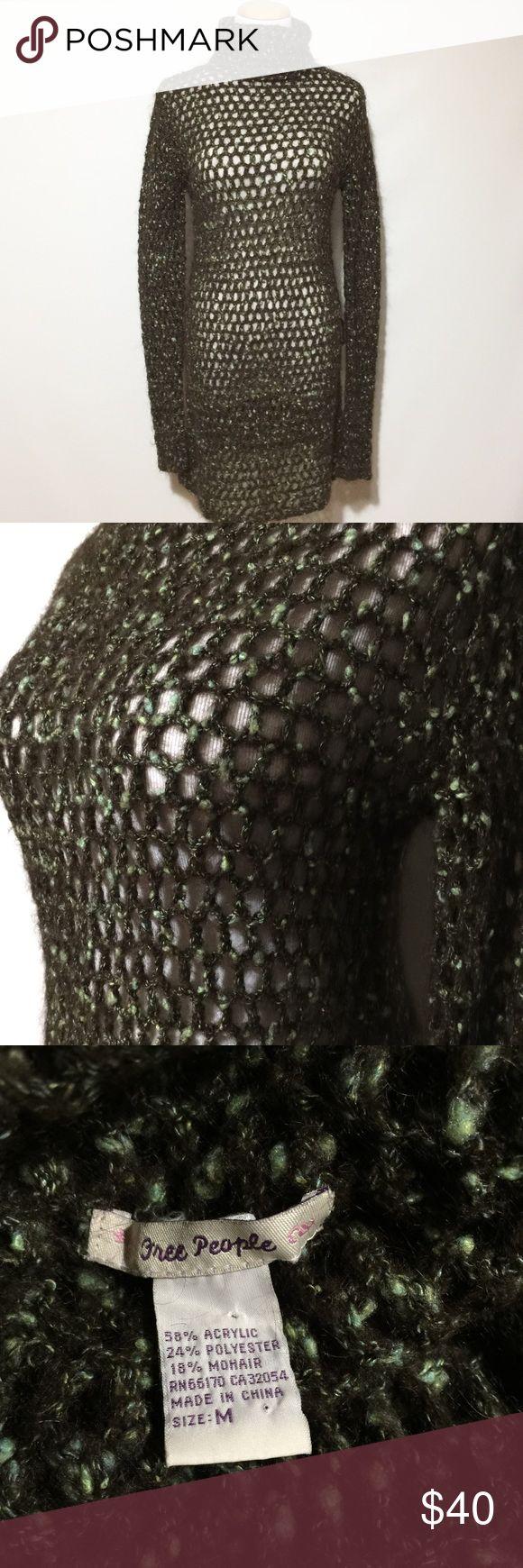 FREE PEOPLE OPEN WEAVE DRESS GUC. Has 2 belt loops. Free People Dresses Midi
