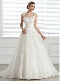 De baile Coração Cauda de sereia Tule Vestido de noiva com Bordado Apliques de fecho de correr - R$ 728,75