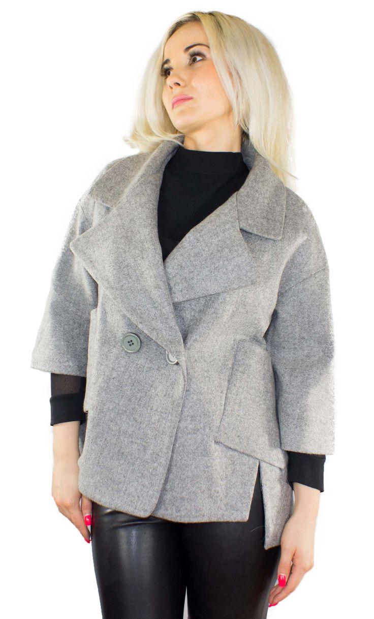 Trendige Damen Herbstjacke Farbe:Grau Außenmaterial: 80% Polyamid 20% Wolle
