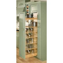"View the Rev-A-Shelf 448-TP58-11-1 58"" Tall x 11"" Wide Wood Pull Out Pantry with Heavy Duty Slide and 6 Adjustable Shelves at Handlesets.com."