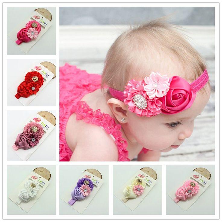 1 pieza kids Baby Girl Flor de Rose venda elástico Del Pelo Cinta de la venda principal Del Bebé niños accesorios para el cabello