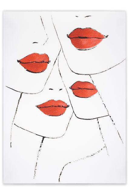 Jason Brooks' elegant illustration entitled Lipstick for Vogue's Art in Fashion (Vogue.com UK)