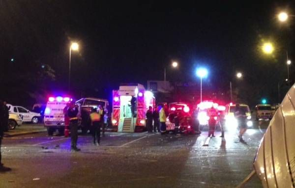 * KZN horror crash * | 24 people died in a horror crash on Field's Hill near Pinetown, KwaZulu-Natal, on Thursday evening when an 18-wheeler truck carrying containers ploughed into four fully-laden minibus taxis and a car. Photo: eNCA
