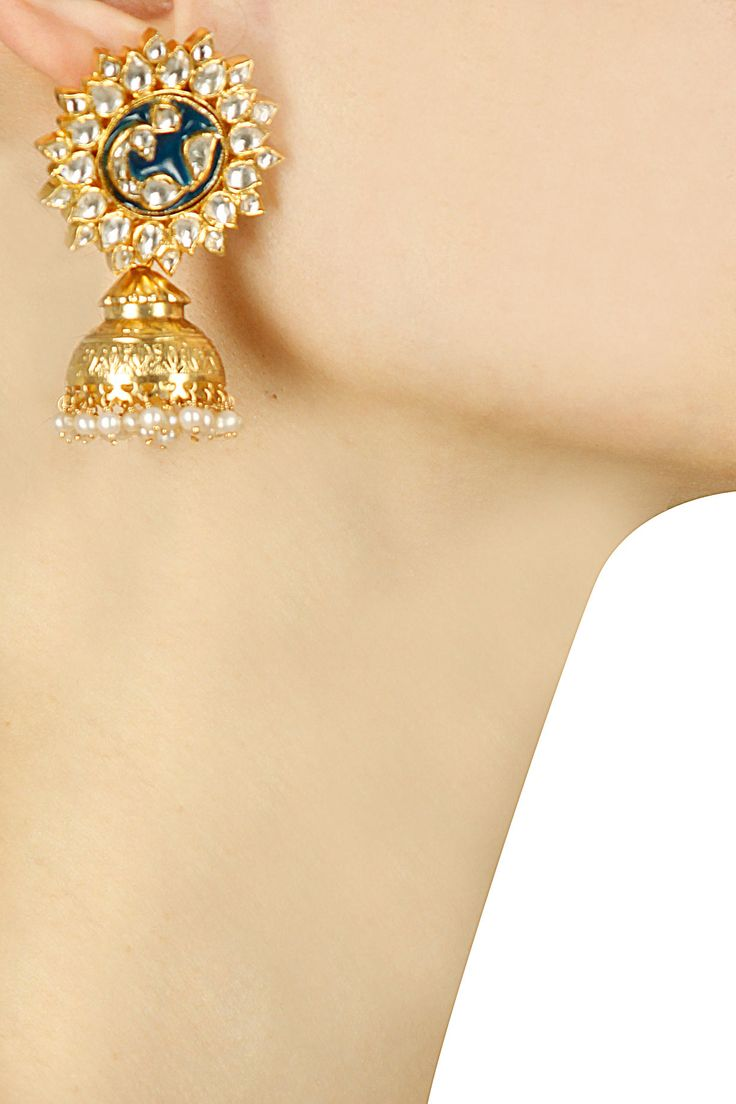Gold finish pearl and glass stone jhumki earrings available only at Pernia's Pop…