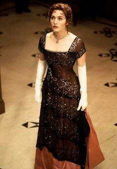"""Kate Winslet as Rose Dewitt Beaucater in """"Titanic"""" (1997). The actress wore a number of stylish Edwardian gowns for the period film, all designed by costumer Deborah L. Scott."""