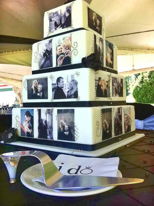 Torta decorada con la foto de los novios en cuatro niveles piramidal cuadrada. #CentroChefPeru