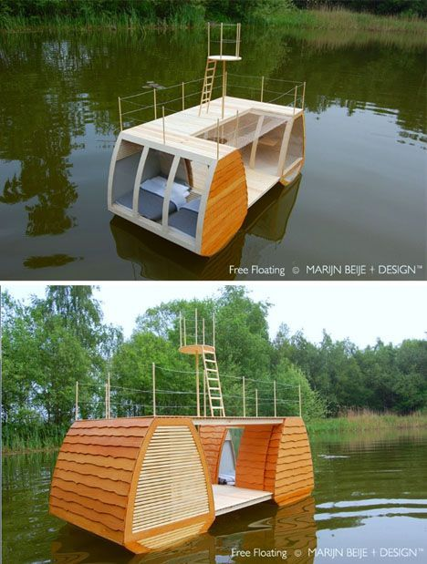 Catamaran Cabin Floats Complete with Deck & Crow's Nest | Tiny Homes