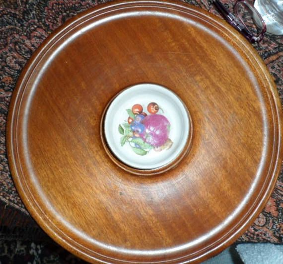 VINTAGE Wood Round Tray/Hand Made Turned Wood Bowl both made