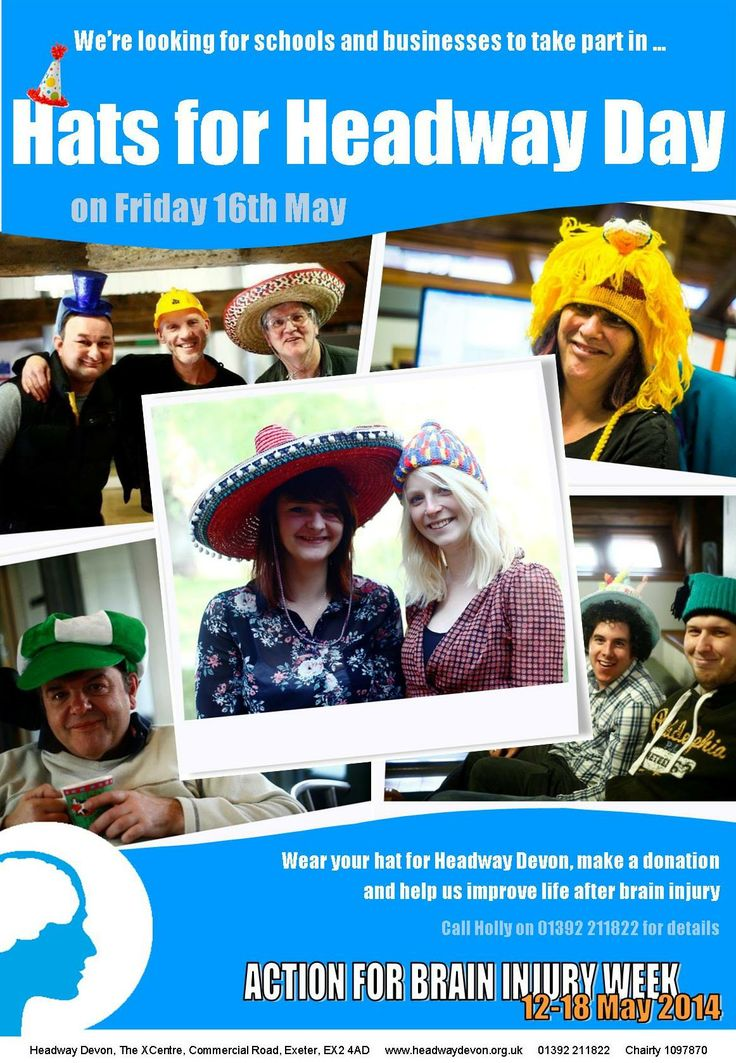 Have fun and raise funds by holding a Hats for Headway Day on Friday 16th May 2014!