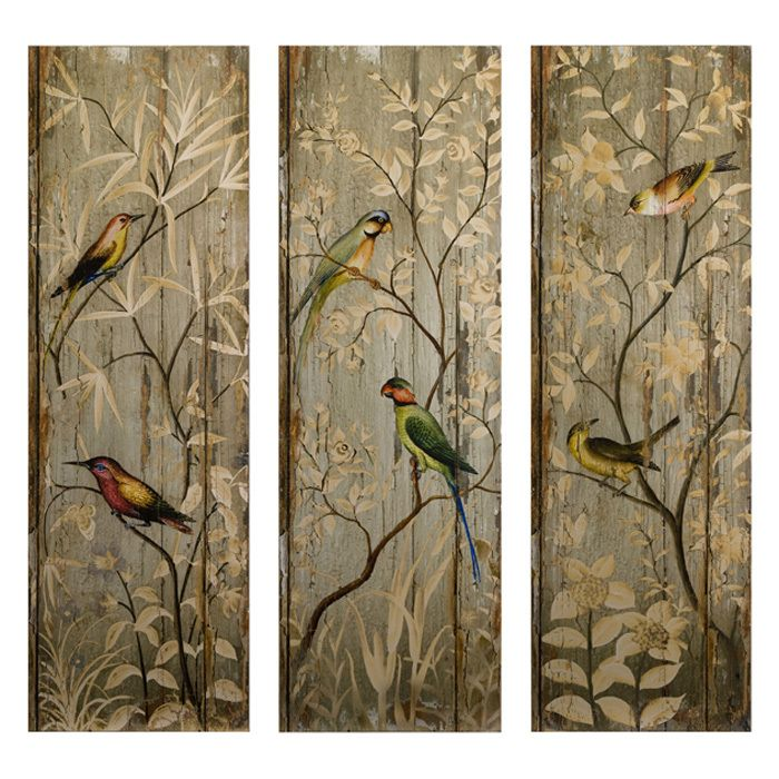 Chinoiserie painted bird panels  - Want to paint something like this someday!!: