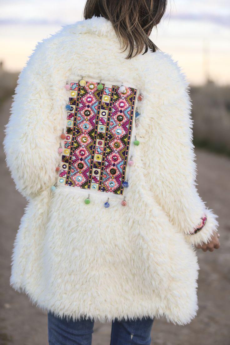 white coat Fur Embroidery Embellished boho ethnic Tribal