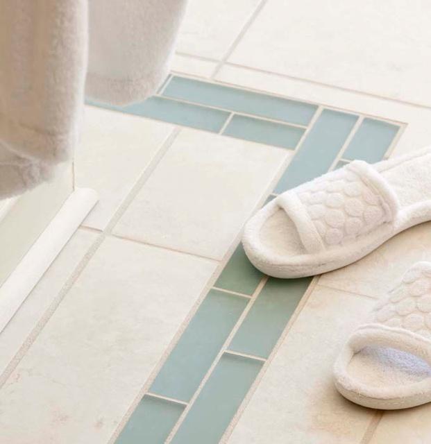 White Subway Bathroom Tile w/ (blue) glass feature strip