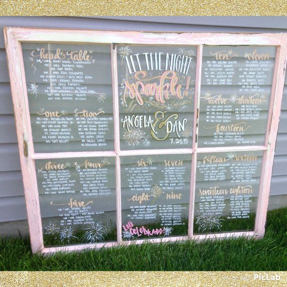 Check out Hand Drawn, Art and Calligraphy on Window Pane Sparklers Themed Wedding Seating Charts on coastalcalligraphy