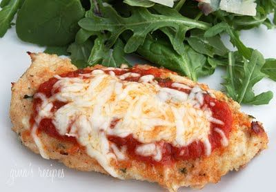 "Baked Chicken Parmesan  ""I made this lighter version of chicken Parmesan last week for dinner and served it over whole wheat angel hair pasta! It was delish."" The recipe (and picture) are from Gina's Weight Watcher Recipes! She has healthy/tasty recipes."