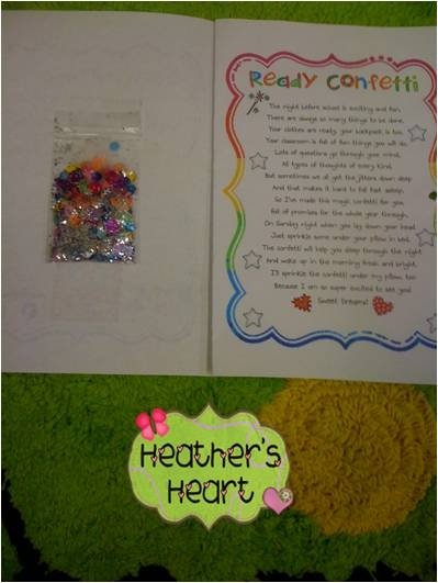 Ready confetti & Jitter Glitter...To help students get rid of their nerves before school starts!