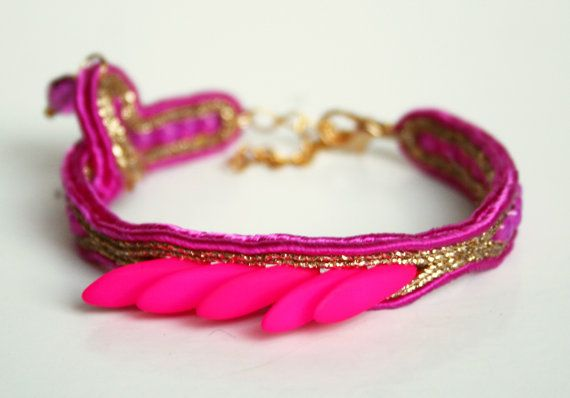 Neon Golden soutache bracelet with dagger beads swarovski crystal boho hippie jewelry pink feathers