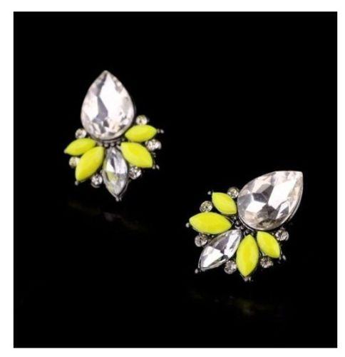 Hot-New-Fashion-Cute-Yellow-Resin-Crystal-Drop-Flower-Stud-Earring