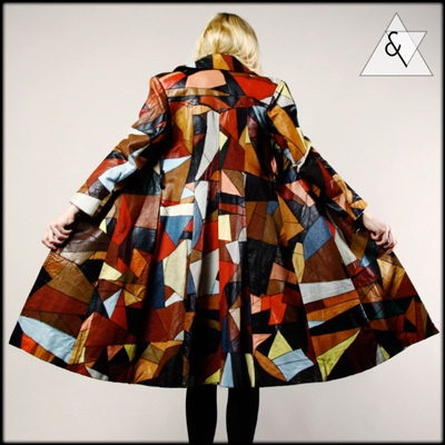 Oh, hell, yeah!!! Now THAT is a coat!!  VINTAGE PATCHWORK LEATHER COAT Vtg 70s Op Art Multicolor Dress Colorblock Jacket on eBay