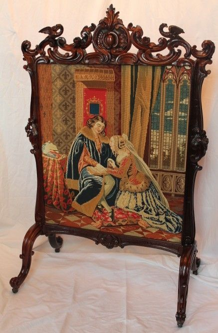 1860's American Rococo Rosewood Carved Firescreen ~ Carved Roses and Birds ~ Wonderful Old Needlepoint ~ Magnificent Piece of Fine Art ~ Master Artistry