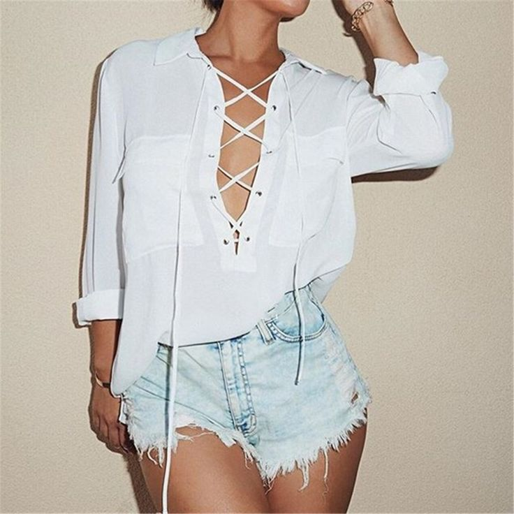 2016 Fashion Summer Women Front Cross Deep V Neck Long Sleeve Blouse Sexy Chiffon Shirt Tops Plus Size