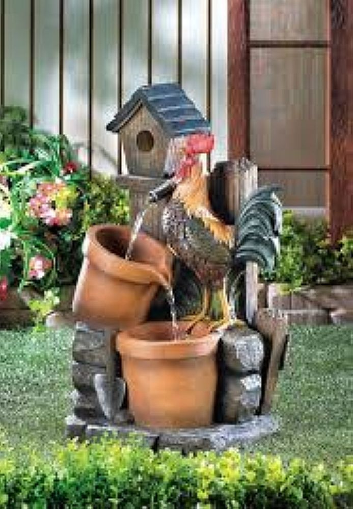 BIRDHOUSE ROOSTER ART SCULPTURE WATER FOUNTAIN PATIO YARD GARDEN OUTDOOR DÉCOR