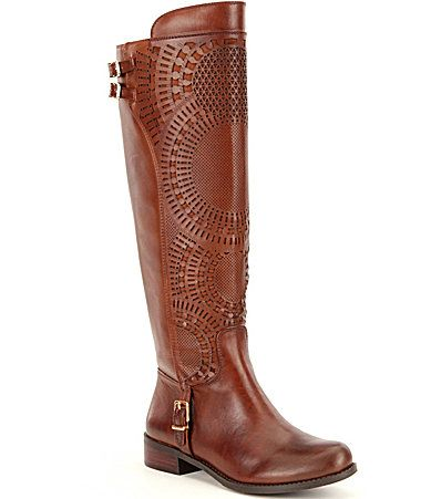 Gianni Bini Ellison Lasercut Riding Boots #Dillards  Size 7 1/2 for socks                                                                                                                                                                                 More