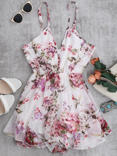 SHARE & Get it FREE   Cami Floral Chiffon Holiday Romper - WhiteFor Fashion Lovers only:80,000+ Items • New Arrivals Daily Join Zaful: Get YOUR $50 NOW!