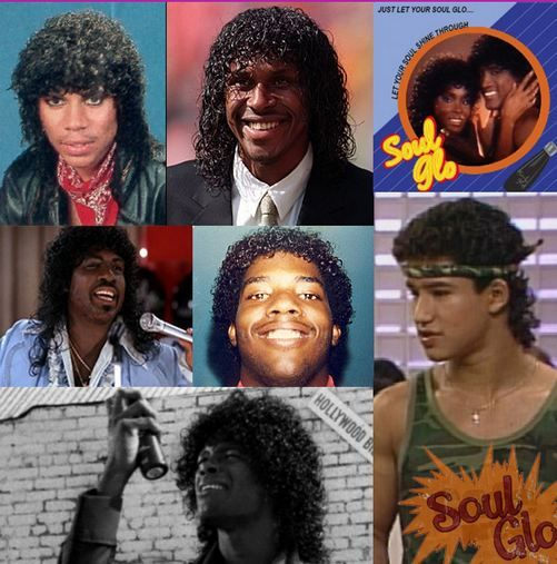 the many faces of the Jheri Curl...including Hollywood Shuffles' Jheri Curl Revenge