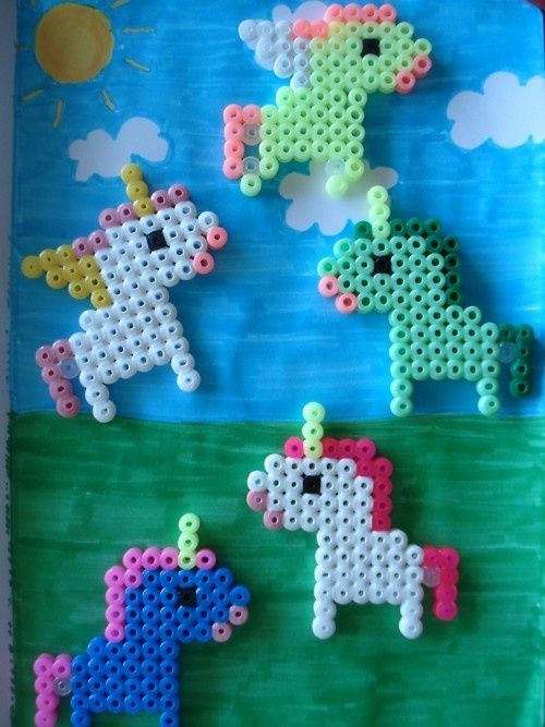 Perler bead unicorns!!!!!!! Make sure to have adult supervision when ironing