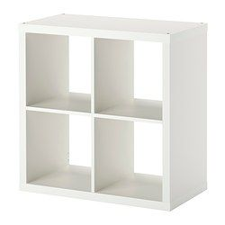 KALLAX Shelving unit - white - IKEA $35, potential in-fireplace storage for game consoles, dvr, etc