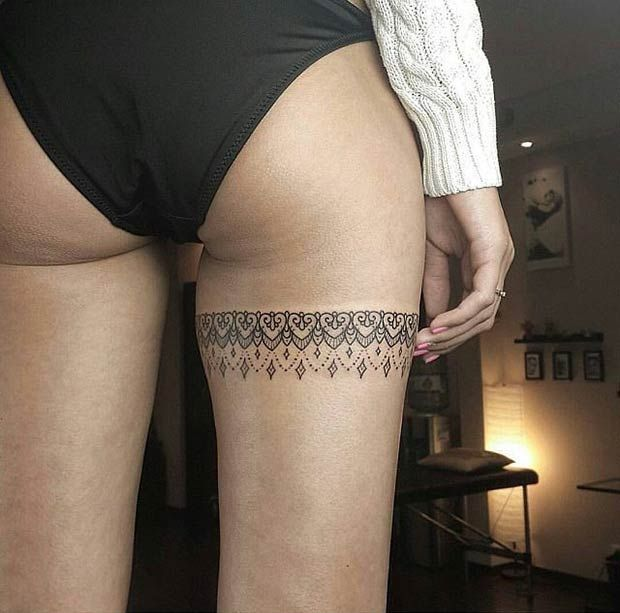 Wrap Up Lace Thigh Tattoo Design for Women
