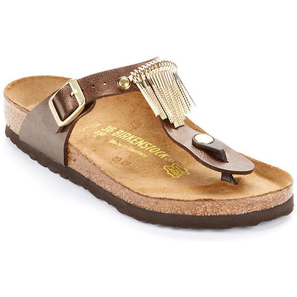 Birkenstock Gizeh Fringe Sandals ($120) ❤ liked on Polyvore