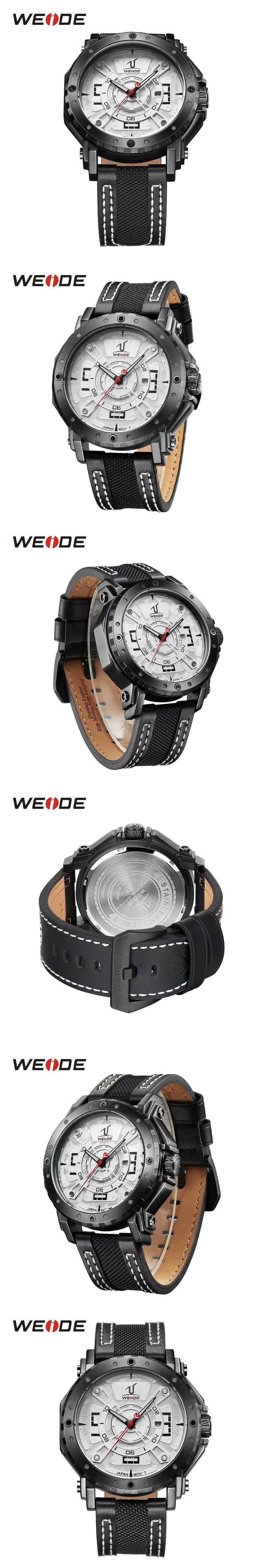 WEIDE Men Japan Quartz Movement Watch Analog Date Calendar Display Hardlex Black Leather Strap Band Waterproof Wristwatch Sport