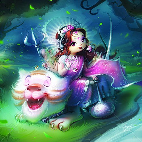 Framed, Art, Print, wall, painting, wall, art, poster, print of gods from indian mythology (Cute Divinities - Maa Durga FSW01) [11X11] inches