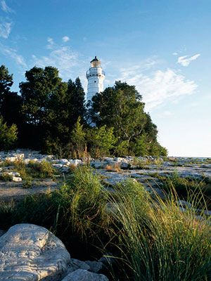 Cana Island Lighthouse, Door County Wisconsin- Beautiful view from the top, and it's a wonderful walk around the rocky beach