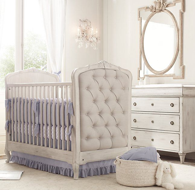 RH Baby & Child's Juliette Large Dresser Mirror - Antique Grey Linen:Inspired by French design, our grand oval mirror rests within a notched rectangular frame and is adorned with carved ornamentation.